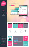 Flat One page website design template. All in one set for website design that includes one page website templates Stock Images