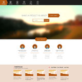Flat One Page Website Template with Blurred Backgrounds Stock Image