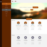 Flat One Page Website Template with Blurred Backgrounds Stock Images