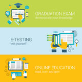 Flat Online Education E-learning Study Exam Infographic Concept Royalty Free Stock Photography