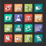 Flat online education icons Royalty Free Stock Photo