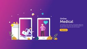 Flat online medical advice or health care service. Call doctor support concept with people character. template for web landing. Page, banner, presentation vector illustration