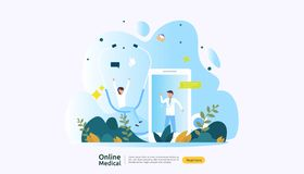 Flat online medical advice or health care service. Call doctor support concept with people character. template for web landing vector illustration