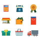Flat  online shopping delivery web app icon: cart wallet Royalty Free Stock Photos