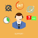 Flat online support concept background. Web technical service. Royalty Free Stock Photography