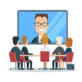 Flat  online video business report meeting T. Flat business online video report, meeting, council, presentation, web infographic . Group businesspeople sitting Stock Photography