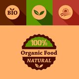 Flat organic food design elements Stock Photography