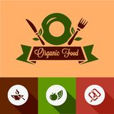 Flat organic food icons Royalty Free Stock Photography