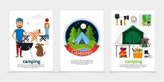 Flat Outdoor Recreation Posters. With barbecue party summer camping tent shovel axe knife map compass backpack thermos bonfire rope basket of products vector royalty free illustration
