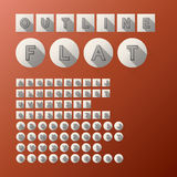 Flat Outline Font and Numbers. Eps 10 Vector, Editable for any Background, No Clipping Mask Royalty Free Stock Photos