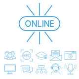 Flat outline icons online education staff training book store distant learning knowledge vector illustration Stock Photos