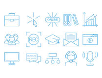 Flat outline icons online education staff training book store distant learning knowledge vector illustration. Outline flat design icons for online education Stock Photography