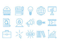 Flat outline icons online education staff training book store distant learning knowledge vector illustration. Outline flat design icons for online education Royalty Free Stock Image