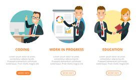 Flat page web design template vector. Business tea. Flat page interface web design template infographics website icons thin line vector illustration. Codding Royalty Free Stock Image