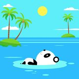 Flat panda swimming on the beach. Flat Summer Background design. Vector Beach Landscape royalty free illustration