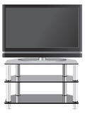 Flat Panel television on modern tv stand. Hi tech tv on stand with shelves Royalty Free Stock Photo