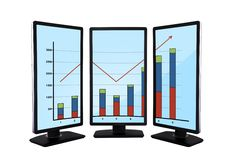Flat panels with chart Royalty Free Stock Image