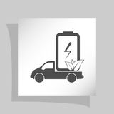 Flat paper cut style icon of eco vehicle Stock Photos