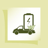 Flat paper cut style icon of eco vehicle Royalty Free Stock Image