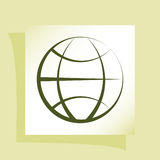 Flat paper cut style icon of globe Royalty Free Stock Photography
