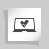 Flat paper cut style icon of laptop Stock Photography