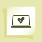 Flat paper cut style icon of laptop Royalty Free Stock Images