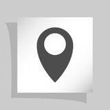 Flat paper cut style icon of map pointer. Illustration royalty free stock photos