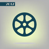 Flat paper cut style icon of old tape spool. Vector illustration Royalty Free Stock Images
