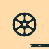 Flat paper cut style icon of old tape spool. Vector illustration Royalty Free Stock Image