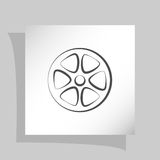 Flat paper cut style icon of old tape spool. Vector illustration Stock Photos