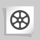 Flat paper cut style icon of old tape spool. Vector illustration Royalty Free Stock Photo