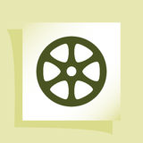Flat paper cut style icon of old tape spool. Vector illustration Royalty Free Stock Photography