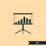 Flat paper cut style icon of a presentation stand Stock Photography