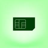 Flat paper cut style icon of a sim card Stock Image