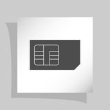 Flat paper cut style icon of a sim card Stock Photos