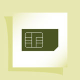 Flat paper cut style icon of a sim card Stock Images