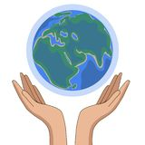 Flat paper cut style icon of two hands holding Earth. Vector illustration stock illustration