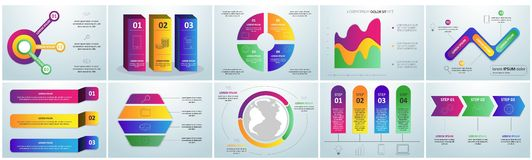 Flat paper infographic set with charts and bookmarks title and heading elements vector illustration stock illustration