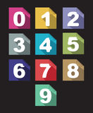 Flat paper  numbers set with long shadows Stock Images