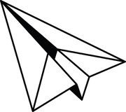 Flat paper plane icon full resizable editable vector in black color Royalty Free Stock Photo