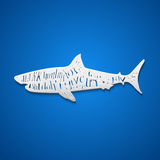 Flat paper style shark Stock Photo