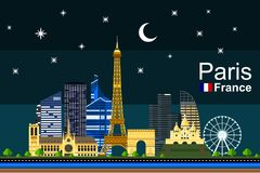 Flat Paris Cityscape at Night. Simple flat-style illustration of Paris city in France and its landmarks. Famous buildings and tourist objects included Stock Photos