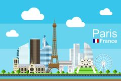Flat Paris Cityscape. Simple flat-style illustration of Paris city in France and its landmarks. Famous buildings and tourist objects included Royalty Free Stock Photo