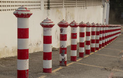Flat Parking block pole in straight line. Stock Photo