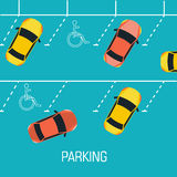Flat parking a car background concept. Vector Stock Images