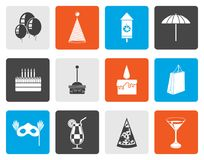 Flat Party and holidays icons. Vector icon set Stock Photos