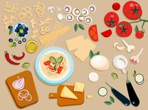 Flat pasta ingredients set entire and cut into pieces: olives,mushrooms, tomato,Parmesan, mozzarella, chilli, oil vector illustration