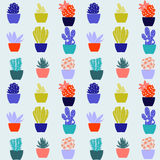 Flat pattern of cactus house plants in pots Royalty Free Stock Images