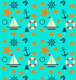 Flat pattern with sea elements. Sea background. Lifeline, ship, shell, bell, compass, steering wheel Royalty Free Stock Photo