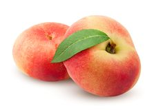 Free Flat Peach Isolated On White Background, Clipping Path, Full Depth Of Field Royalty Free Stock Photos - 124891528